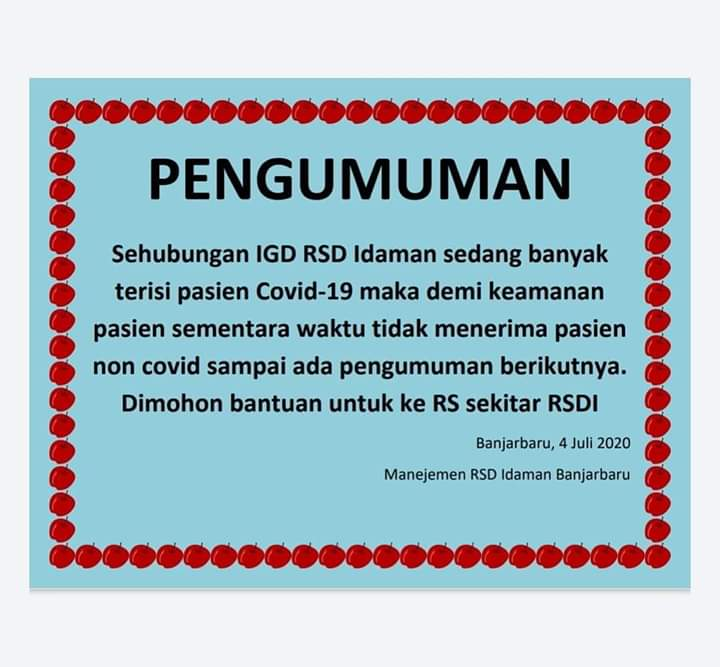 RSD Idaman Banjarbaru Tutup Pelayanan Bagi Pasien Non-Covid-19 6