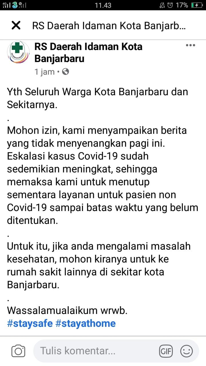 RSD Idaman Banjarbaru Tutup Pelayanan Bagi Pasien Non-Covid-19 4